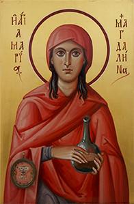 Icono de Santa María Magdalena (obra de Evgeny Maliagin) con parte de las reliquias de la santa